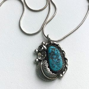 Vintage Navajo Turquoise Silver Blossom Necklace